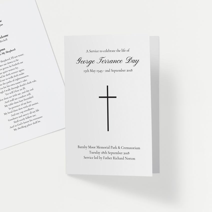 Picture of Simple Cross White – Order of Service